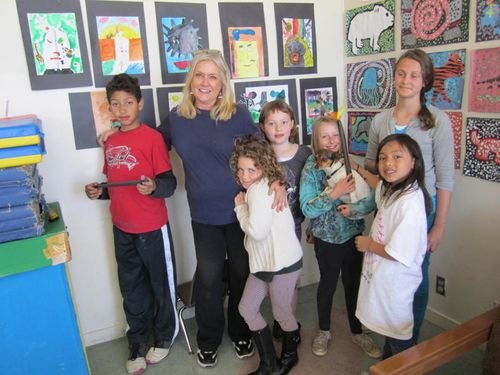 TMWFI creative writing students with art instructor Laurie Croft