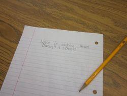 student writing work